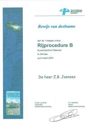 Rijprocedure B