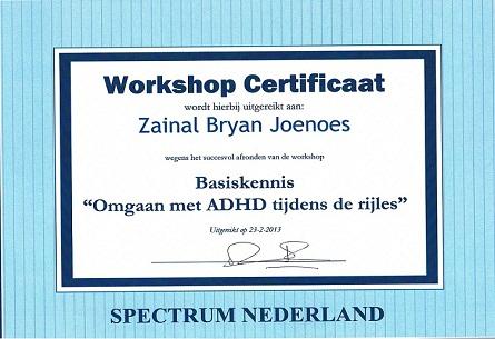 certificaat basis kennis omgaan met autisme tijdens de rijles